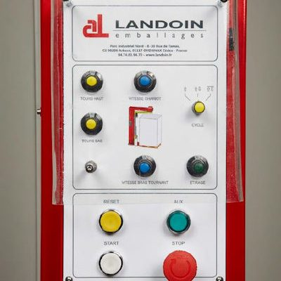 Machine à banderoler LADBOOM à bras tournant adaptable sur un transpalette électrique