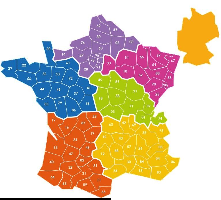 Carte de France Commerciale LANDOIN emballages